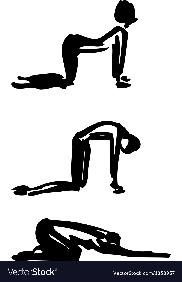 Yoga cat-cow pose vector | Price: 1 Credit (USD $1)