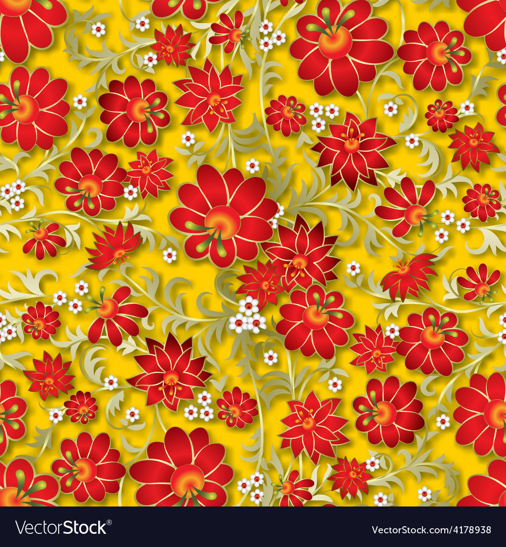 Abstract seamless red floral ornament and shadow vector | Price: 1 Credit (USD $1)