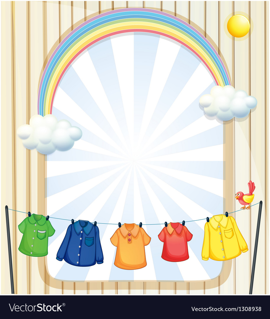 An entrance with hanging clothes vector | Price: 1 Credit (USD $1)