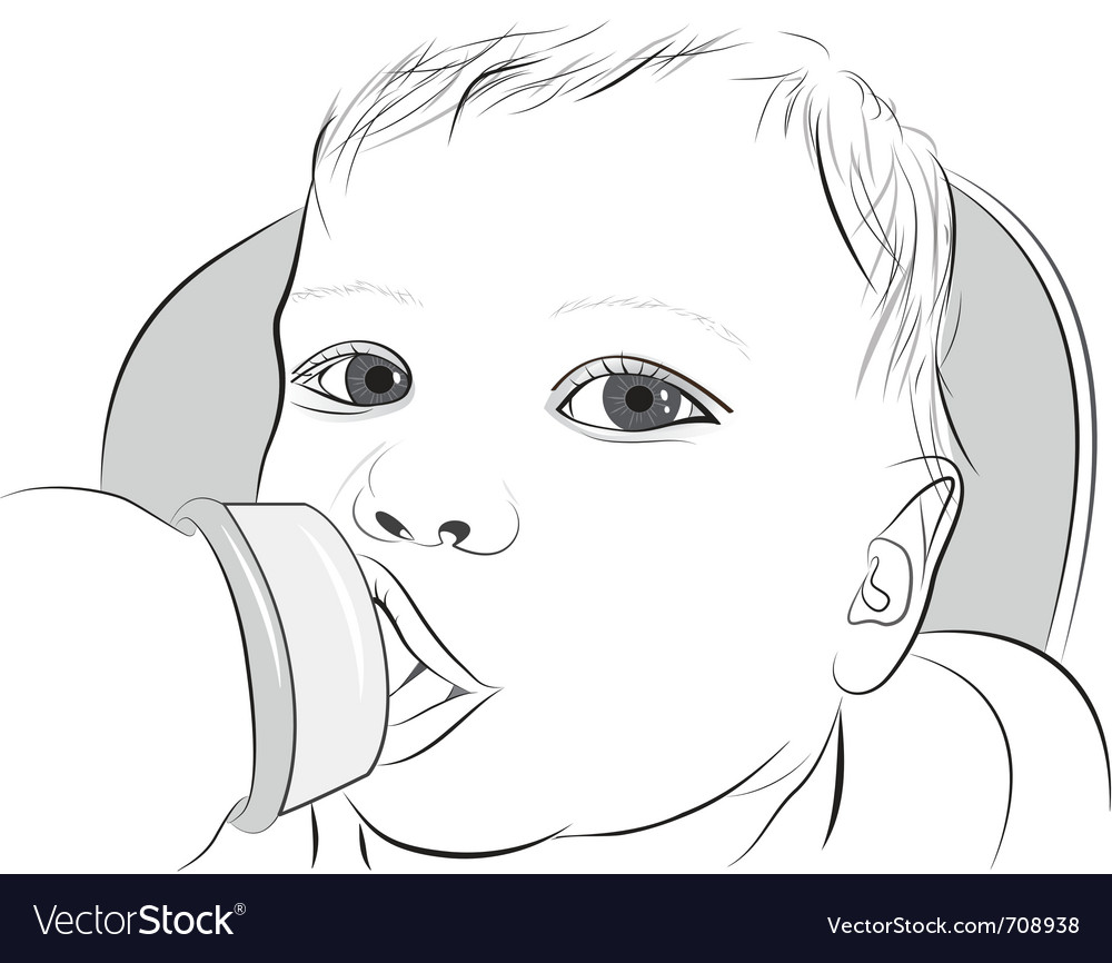 Baby drinking milk vector | Price: 3 Credit (USD $3)