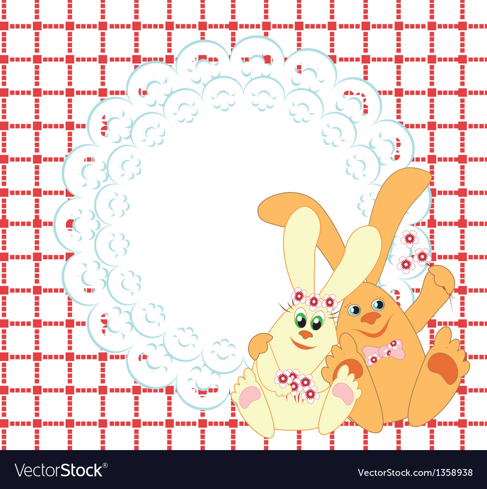 Background with a couple of rabbits vector | Price: 1 Credit (USD $1)