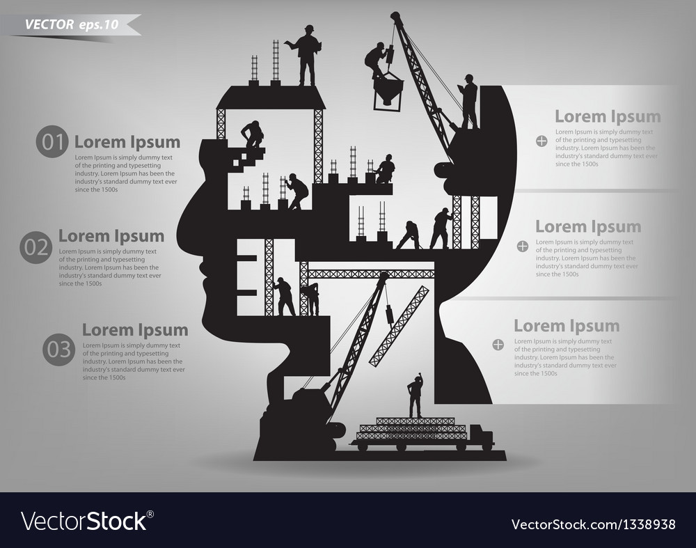 Building construction workers in silhouette head vector | Price: 3 Credit (USD $3)