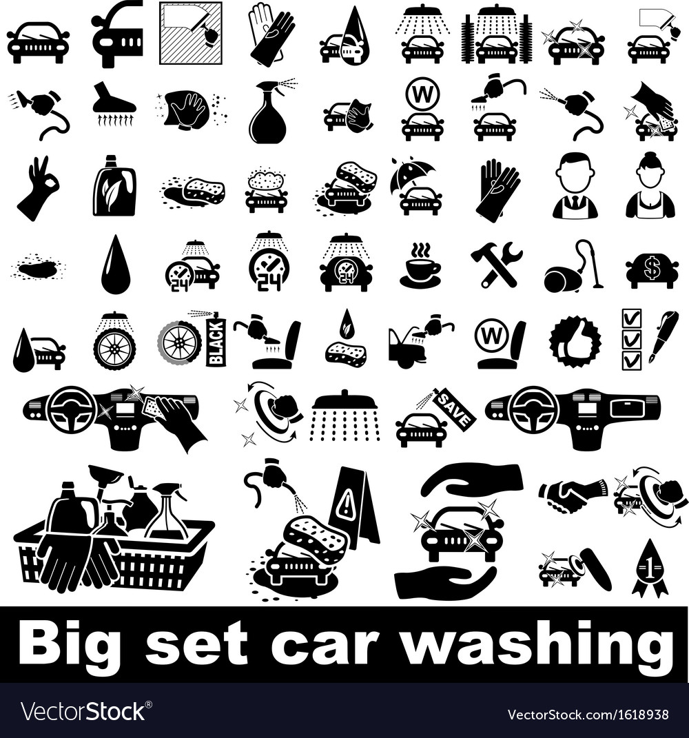 Car wash icons set vector | Price: 1 Credit (USD $1)