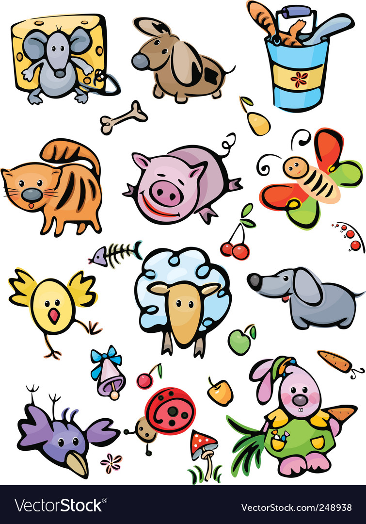 Cute animals for your design vector | Price: 1 Credit (USD $1)