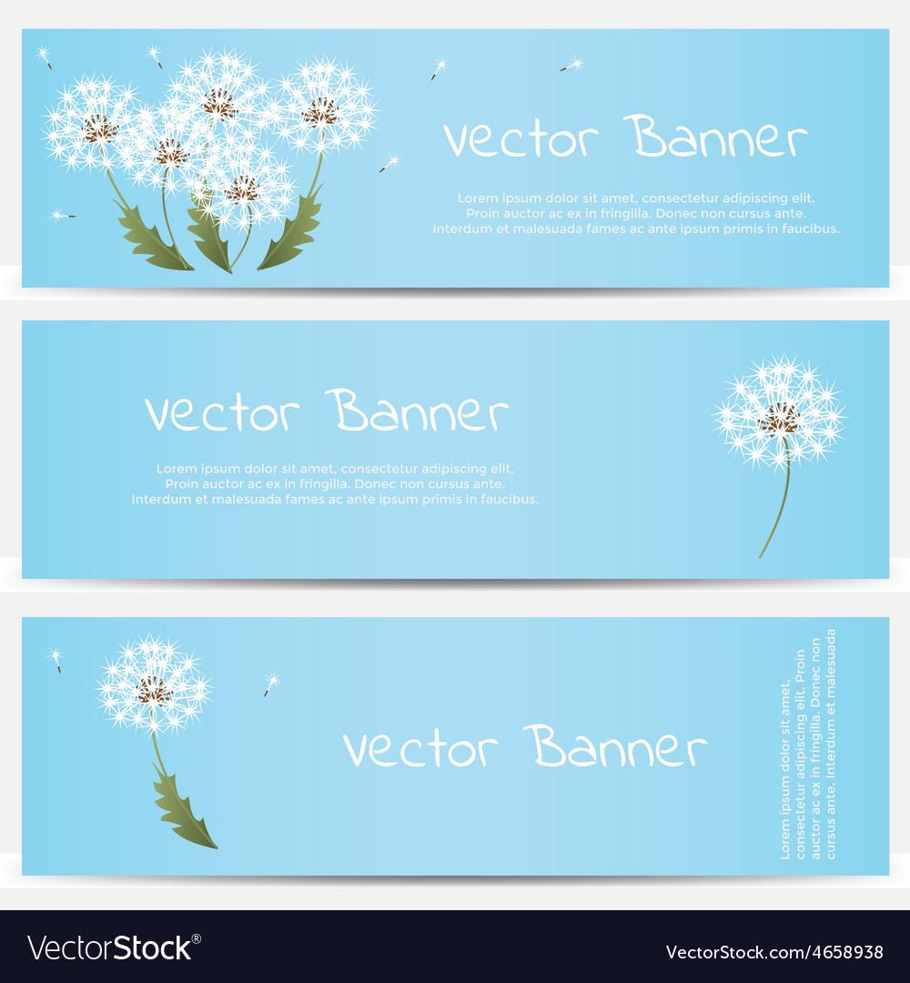 Dandelion banner on blue background vector   Price: 1 Credit (USD $1)