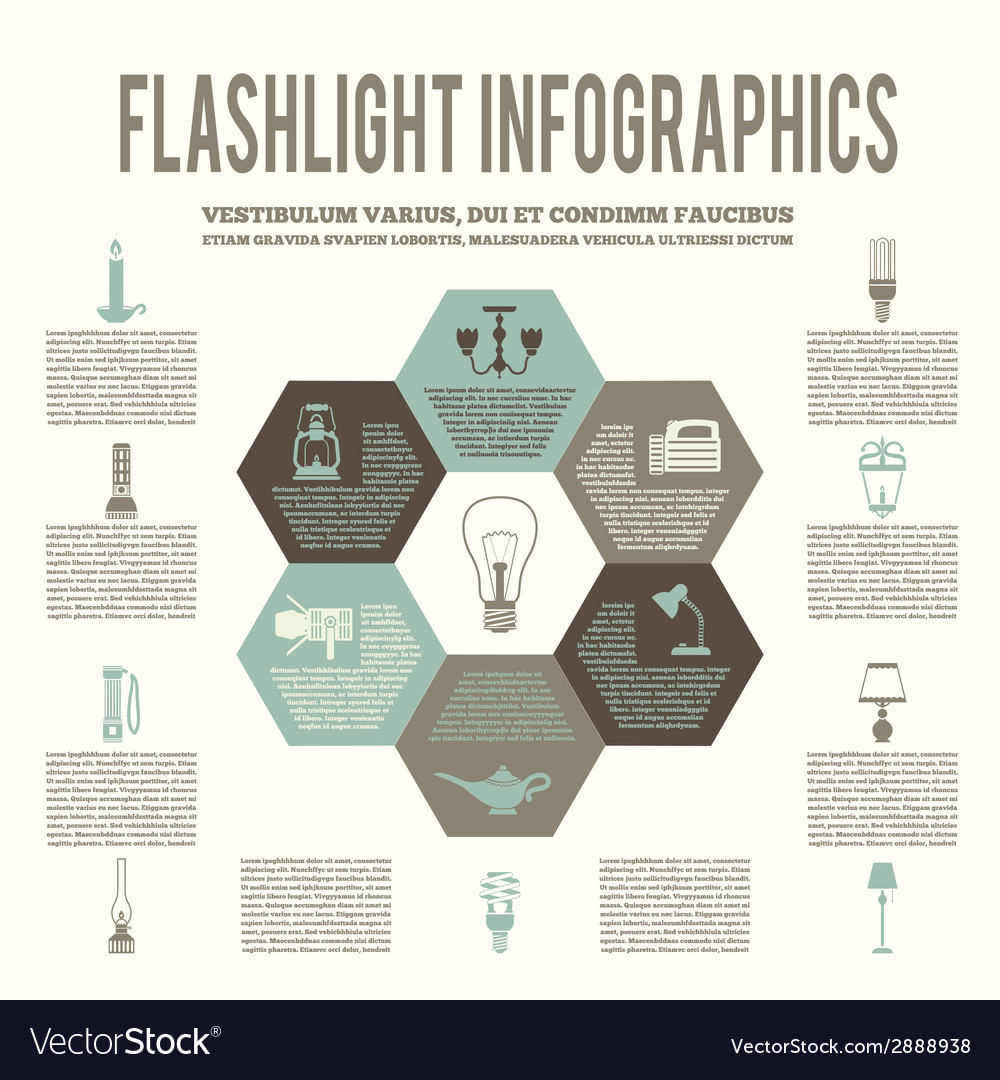 Flashlight and lamps flat infographic vector | Price: 1 Credit (USD $1)