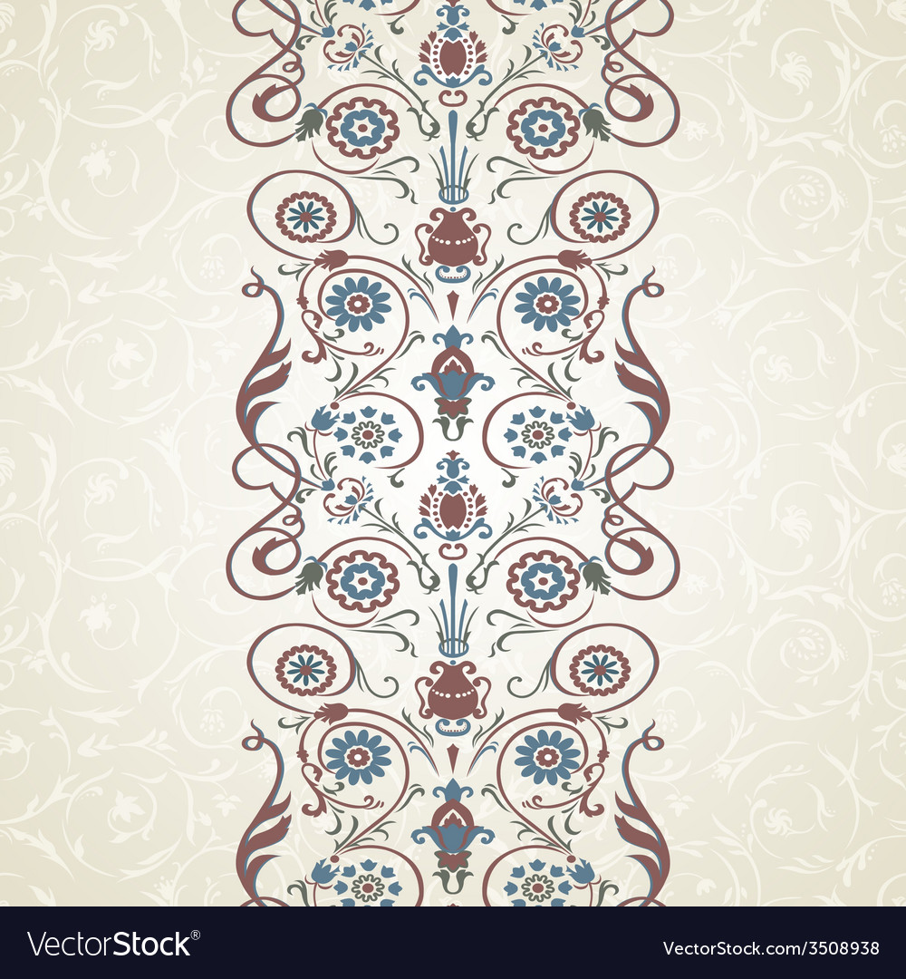 Floral border on seamless background vector   Price: 1 Credit (USD $1)