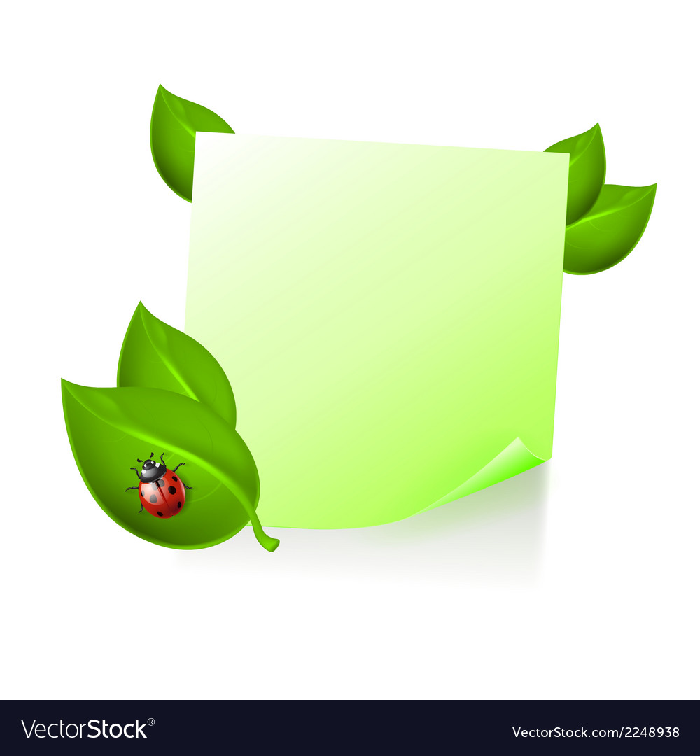 Note with leaves and ladybird vector | Price: 1 Credit (USD $1)