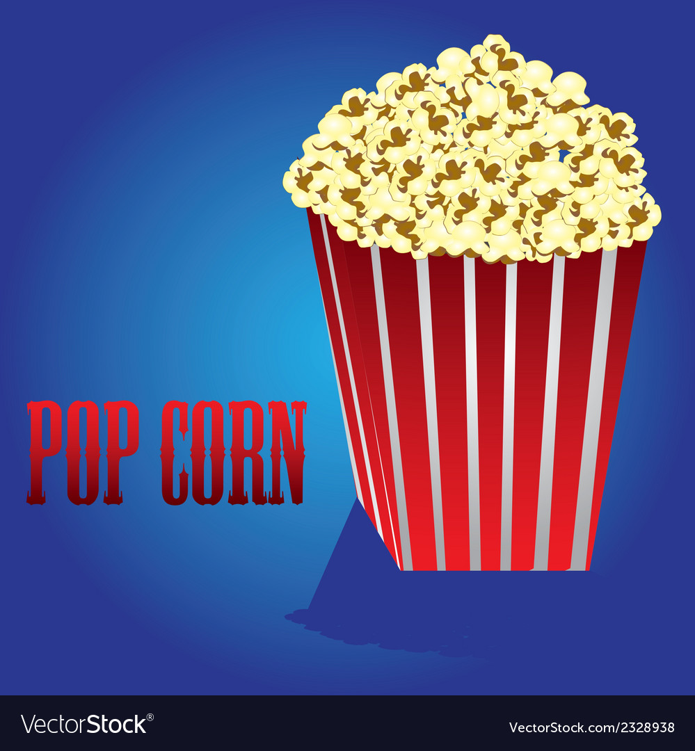 Popcorn on a blue background vector | Price: 1 Credit (USD $1)