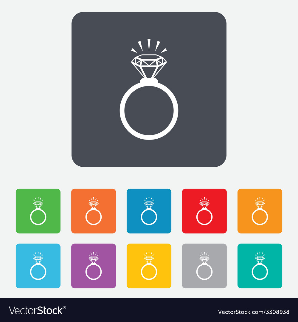 Ring sign icon jewelry with diamond symbol vector | Price: 1 Credit (USD $1)