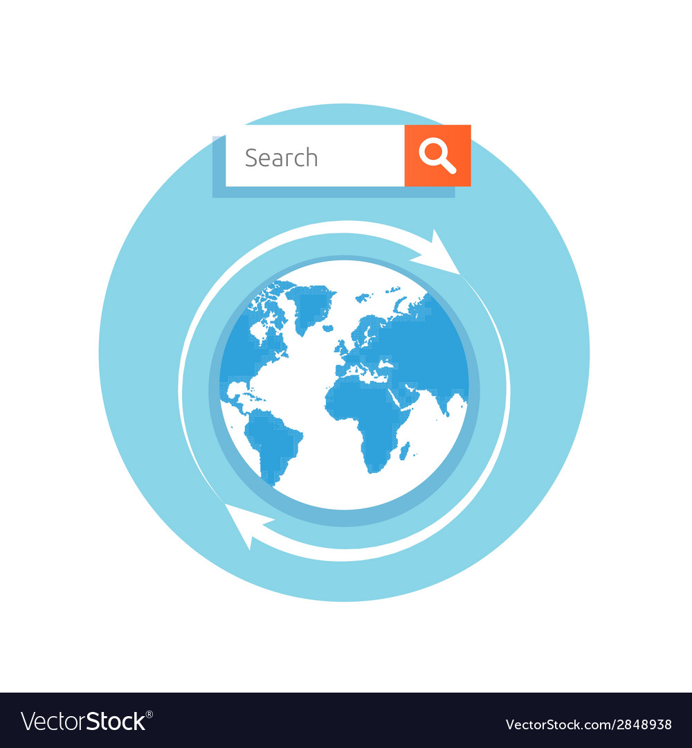 Search concept address bar with globe icon vector | Price: 1 Credit (USD $1)