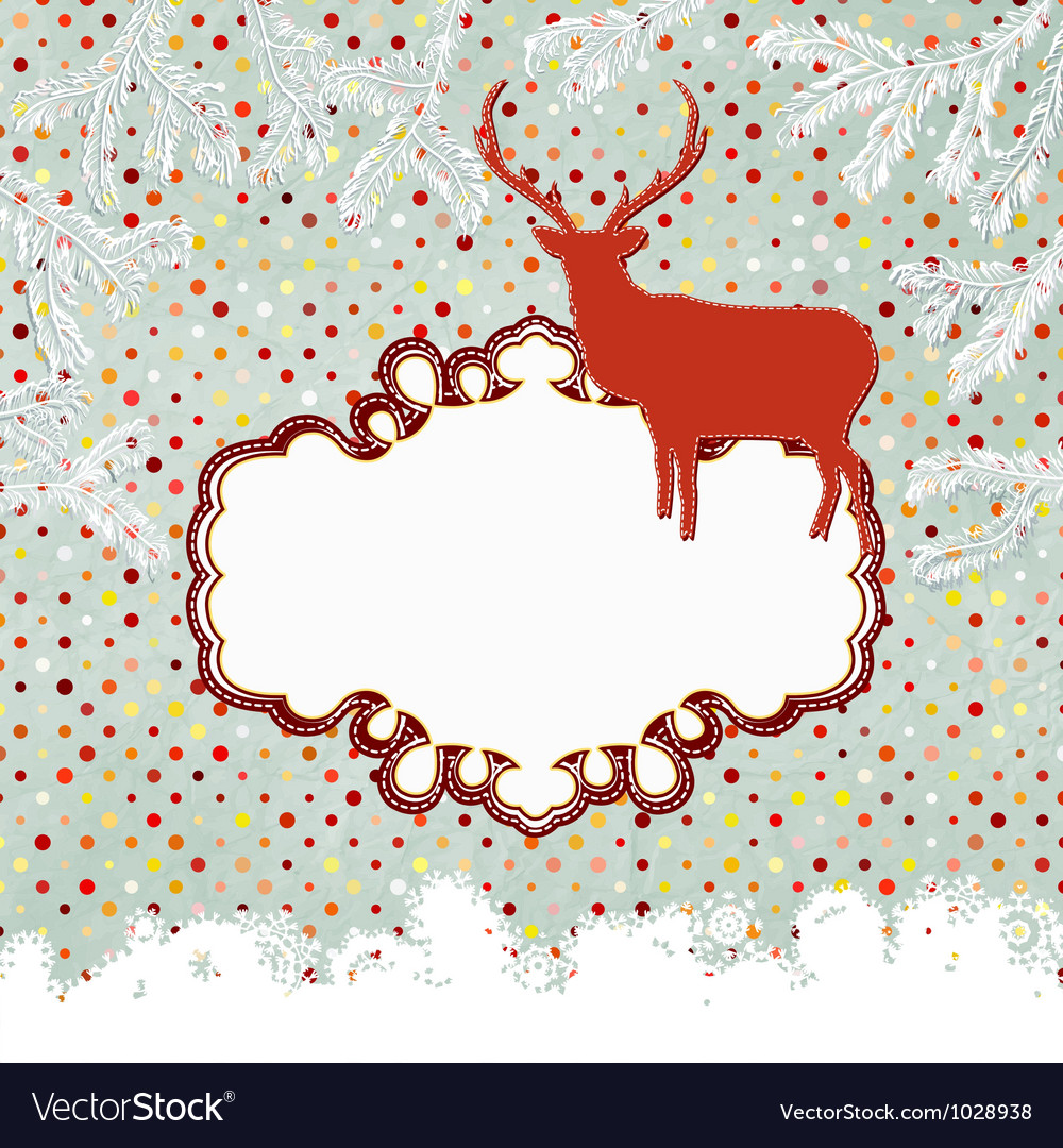 Template vintage with deer and snowflake eps 8 vector | Price: 1 Credit (USD $1)