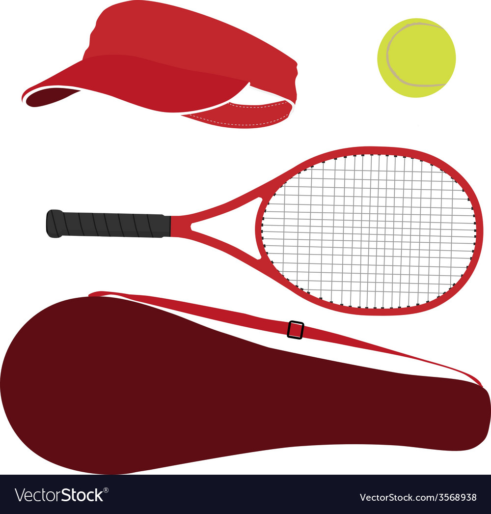 Tennis equipment red set vector | Price: 1 Credit (USD $1)