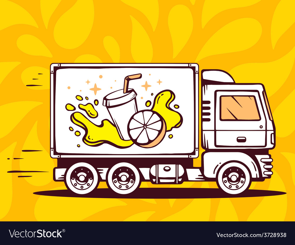 Truck free and fast delivering fresh frui vector | Price: 1 Credit (USD $1)
