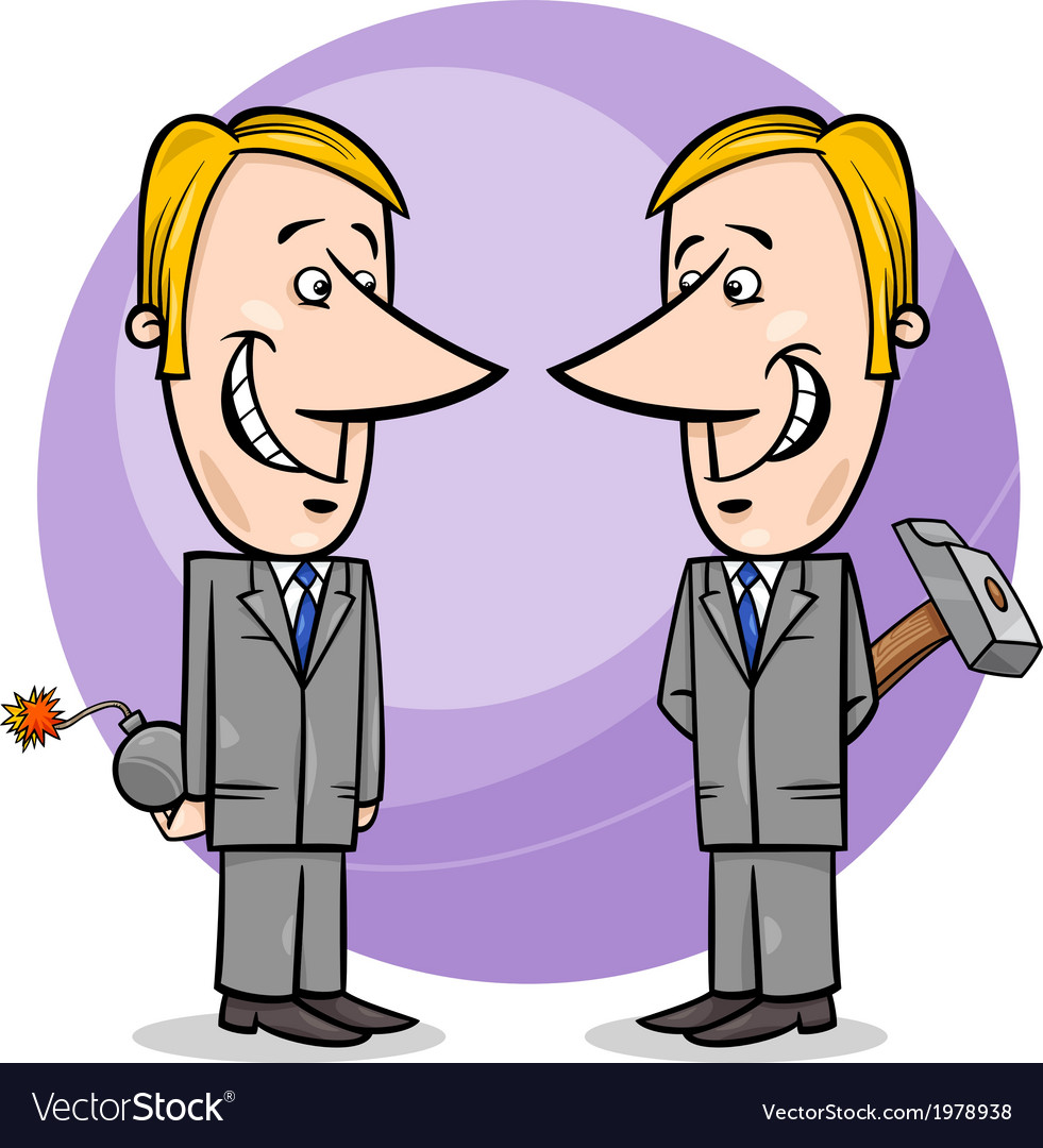 Two false businessmen cartoon vector | Price: 1 Credit (USD $1)