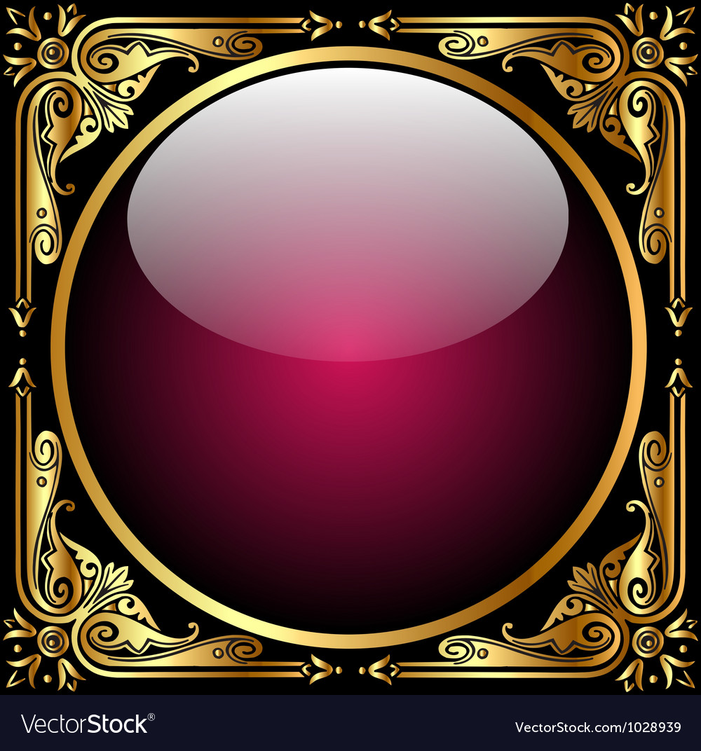 Abstract background with glass ball and golden pat vector | Price: 1 Credit (USD $1)