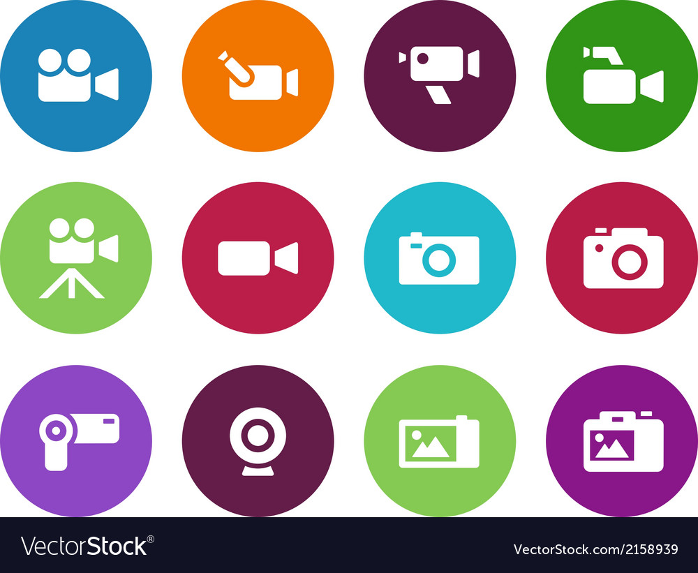 Camera circle icons on white background vector | Price: 1 Credit (USD $1)