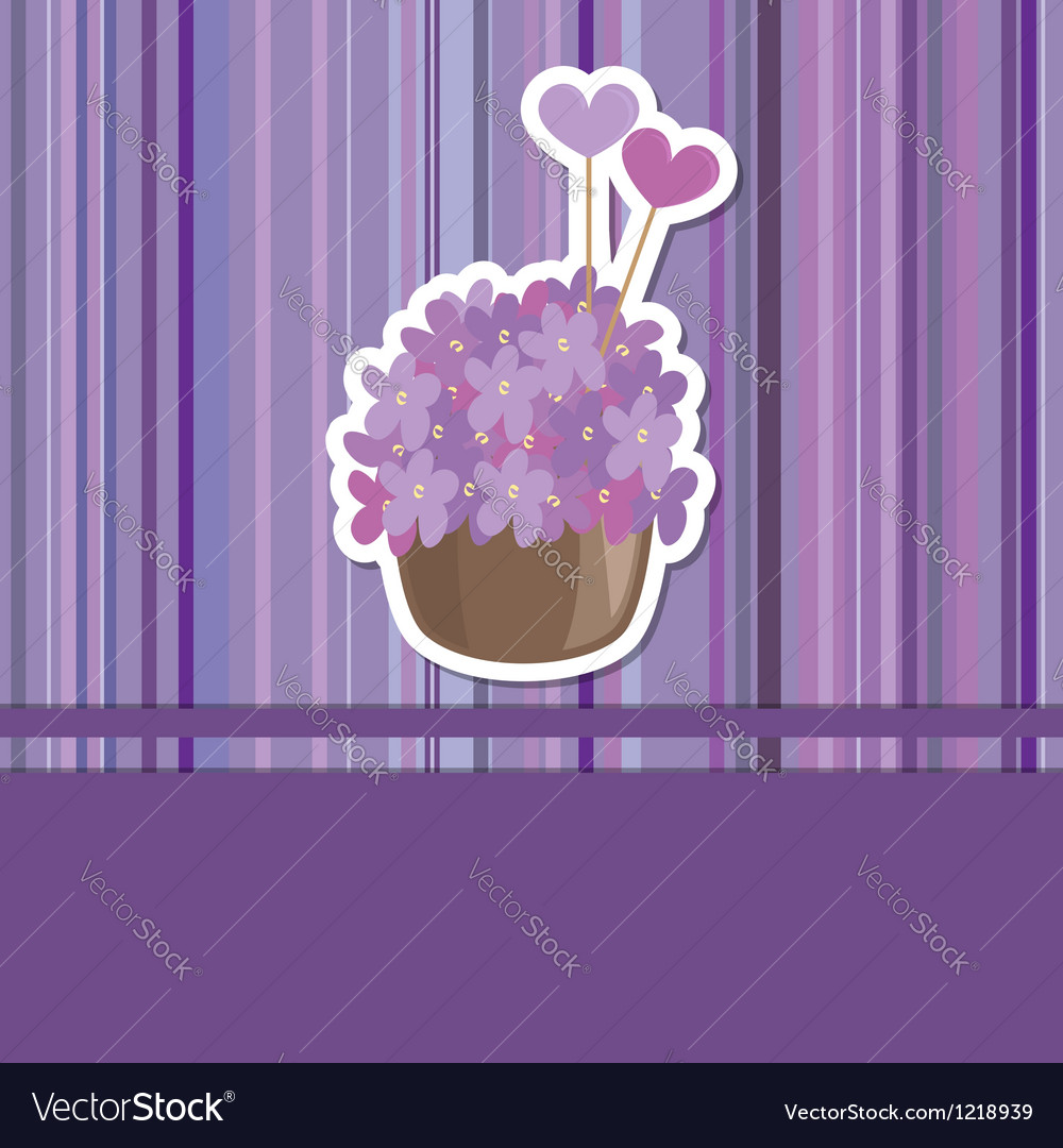 Card with flower basket vector | Price: 1 Credit (USD $1)