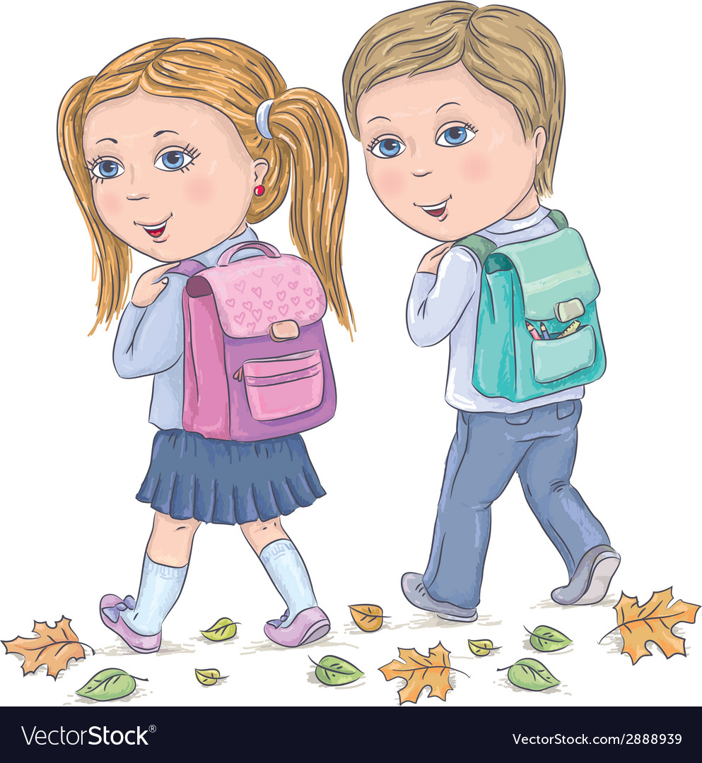 Children go to school vector | Price: 1 Credit (USD $1)