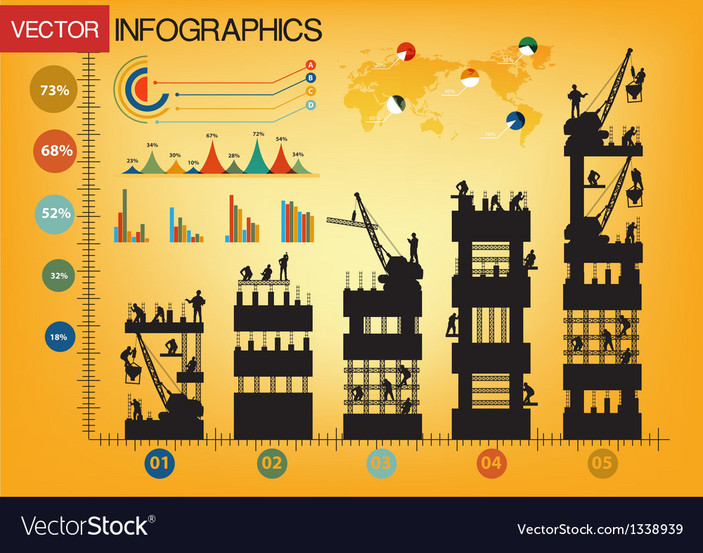 Construction worker silhouette at graphs vector | Price: 3 Credit (USD $3)