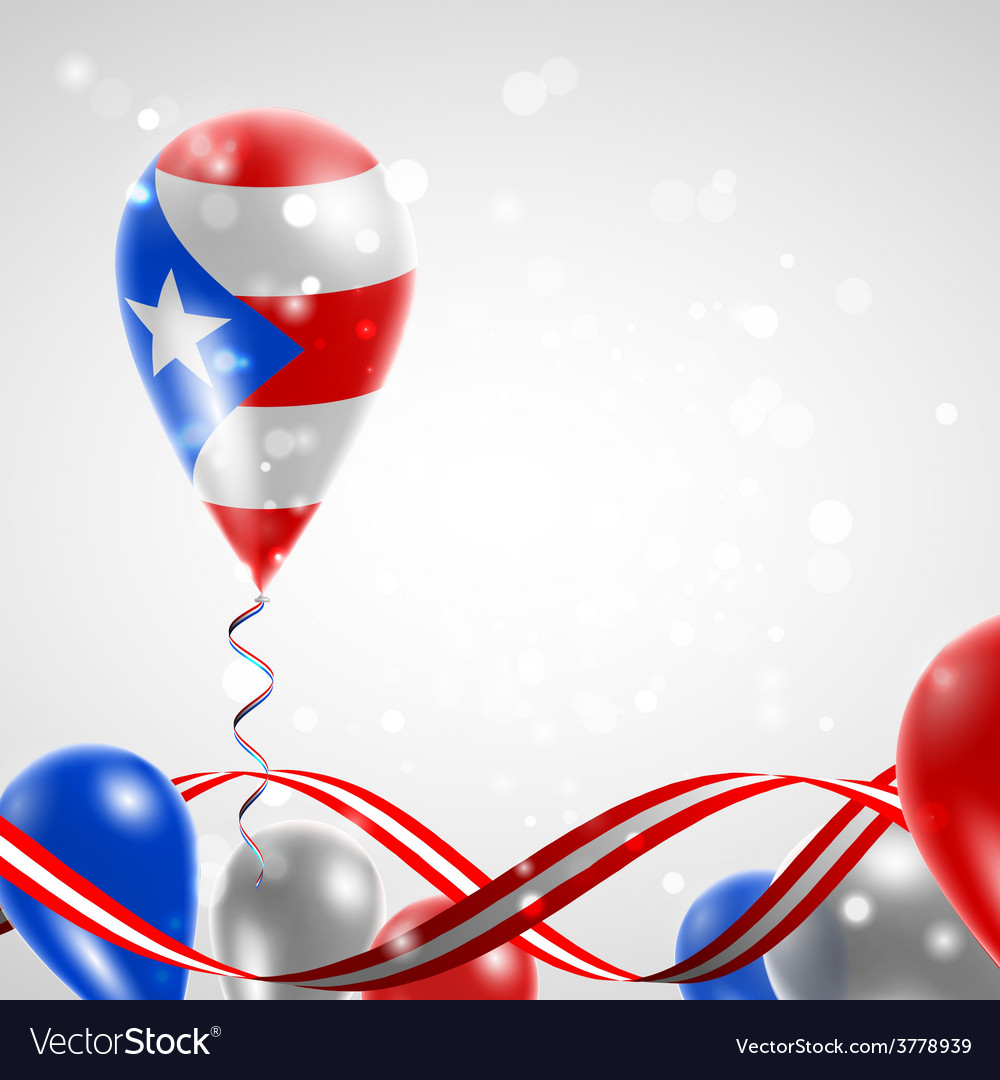Flag of puerto rico on balloon vector | Price: 3 Credit (USD $3)