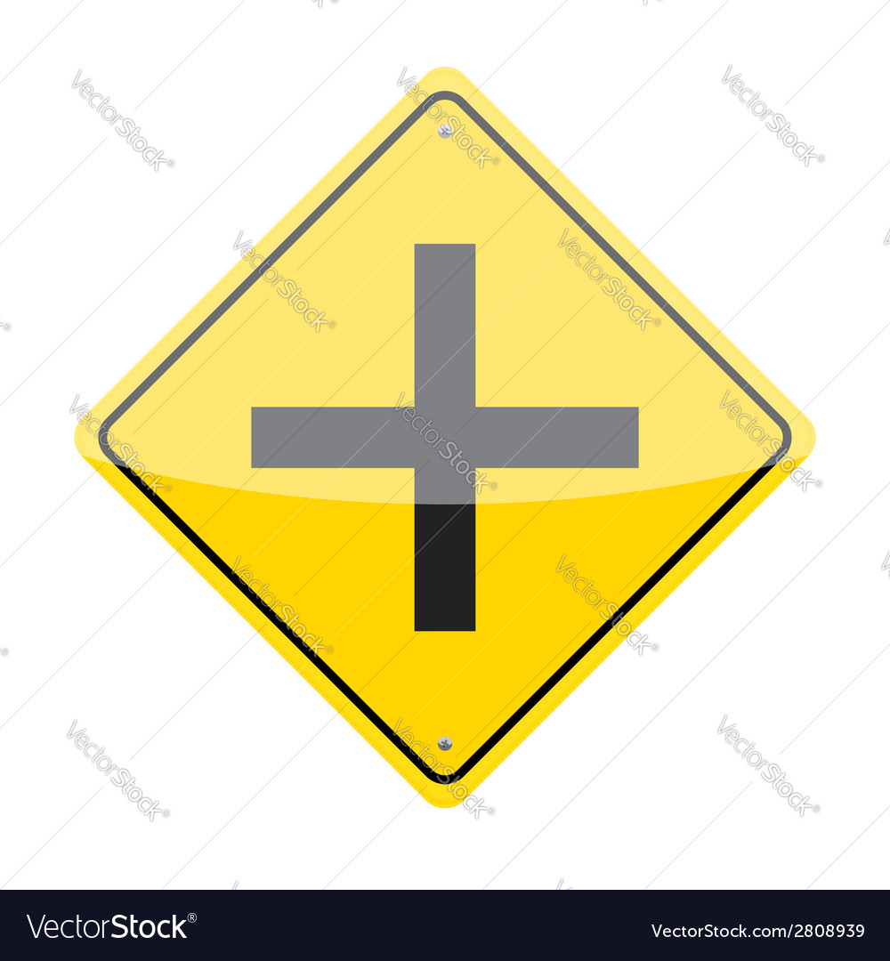 Intersection ahead sign vector | Price: 1 Credit (USD $1)