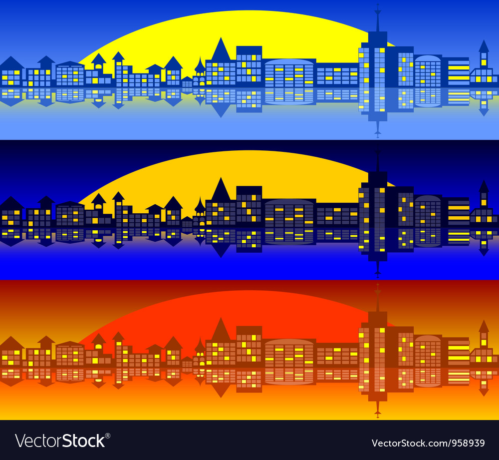Landscape of city set vector | Price: 1 Credit (USD $1)