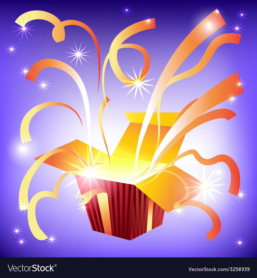 Open gift box with bright rays of light and flying vector | Price: 1 Credit (USD $1)