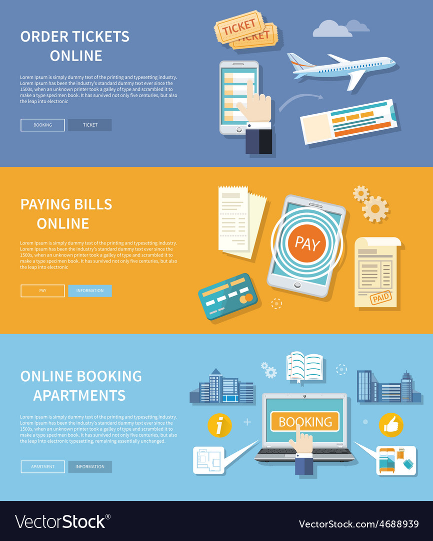Pay bills booking apartments order ticket vector | Price: 1 Credit (USD $1)