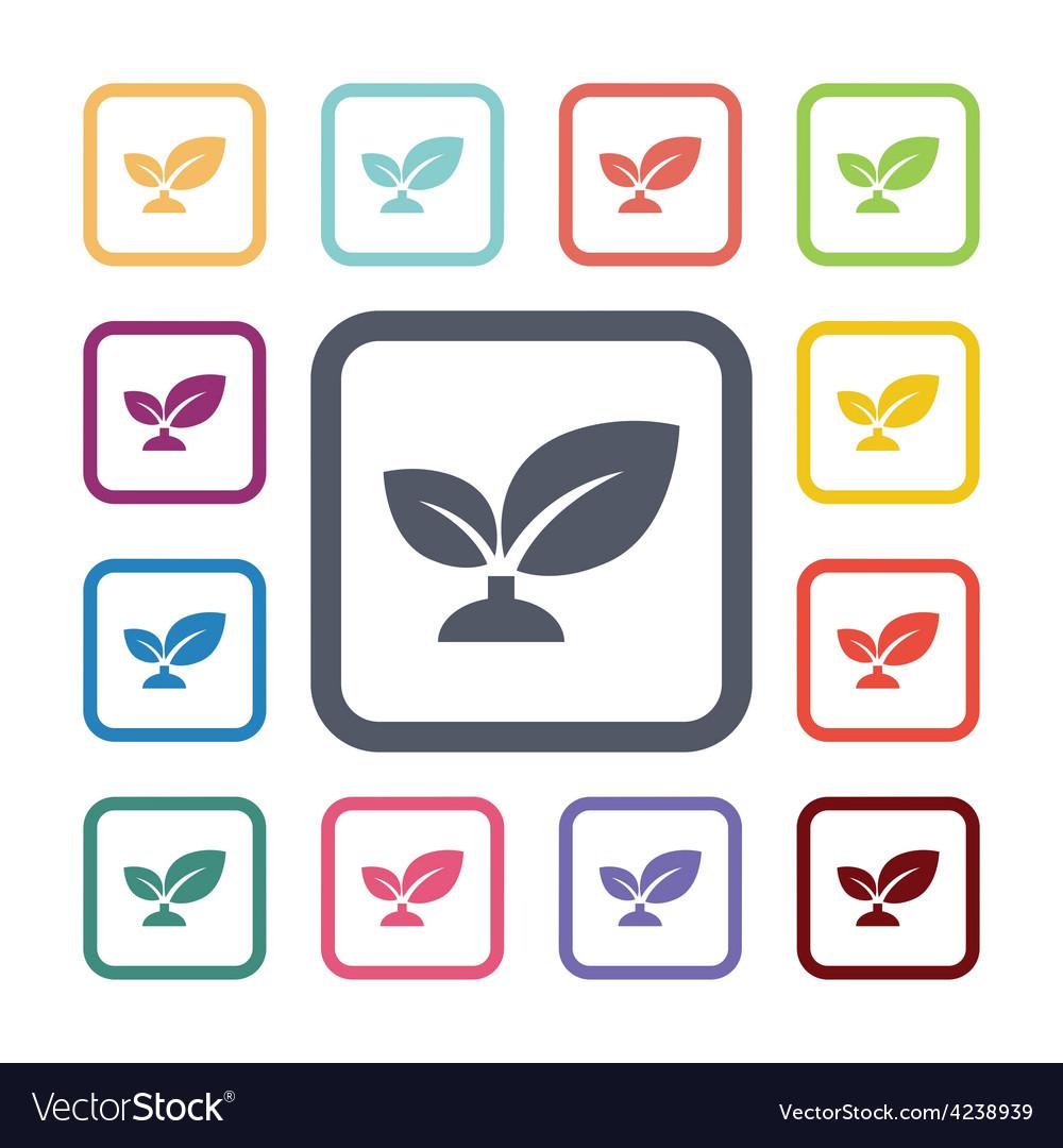 Plant flat icons set vector   Price: 1 Credit (USD $1)