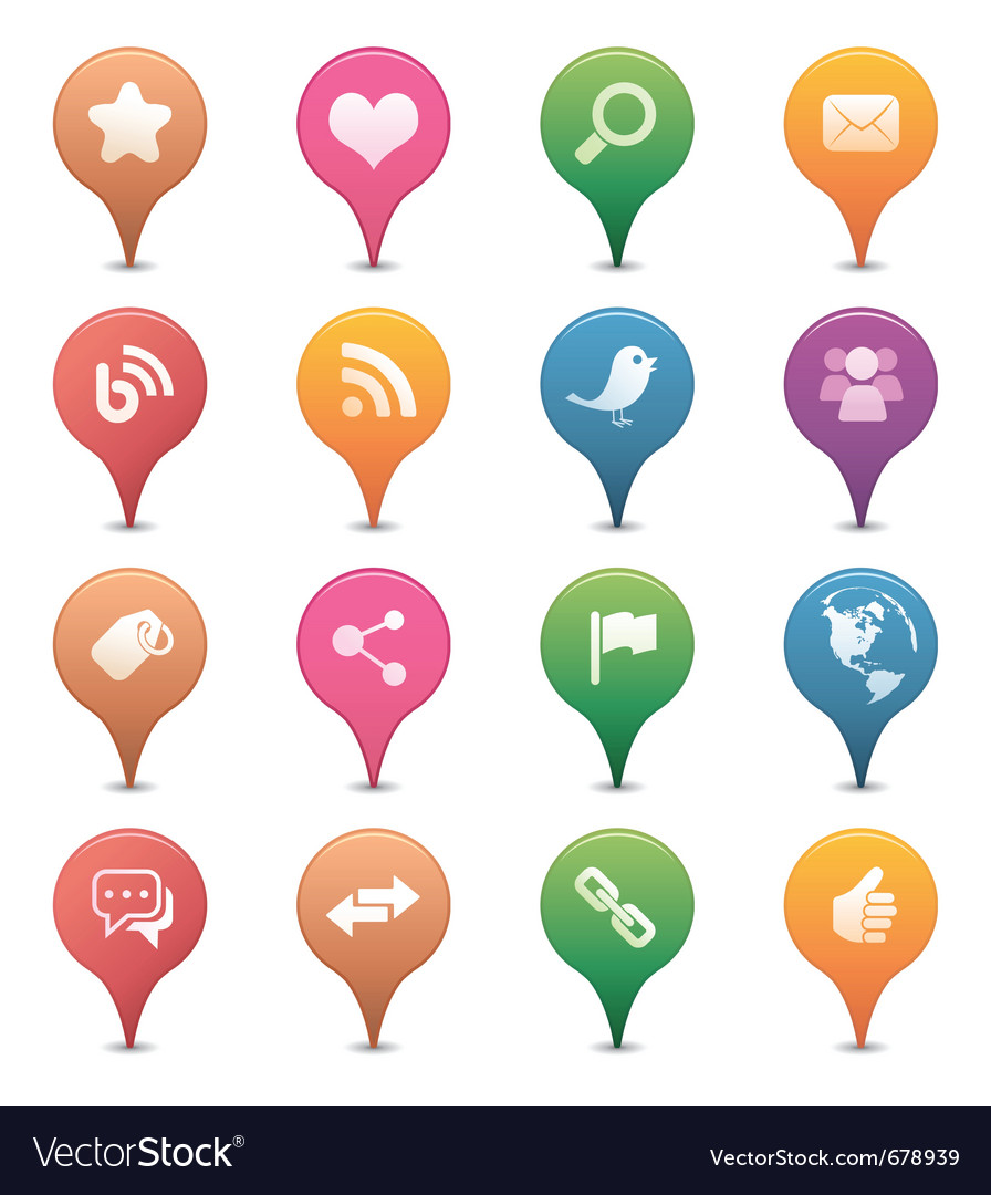 Social media pins vector | Price: 1 Credit (USD $1)