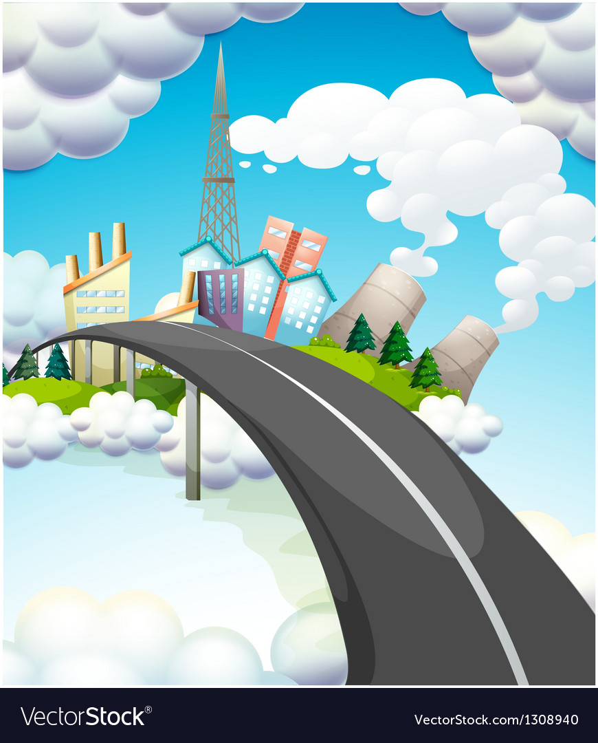 A road going to the city vector | Price: 1 Credit (USD $1)
