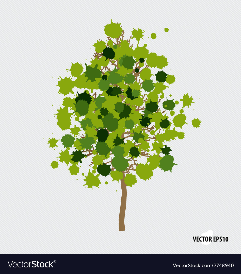 Abstract tree with green leaves on white vector | Price: 1 Credit (USD $1)