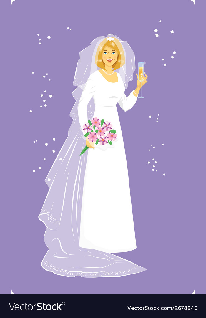 Bride in wedding dress vector | Price: 1 Credit (USD $1)