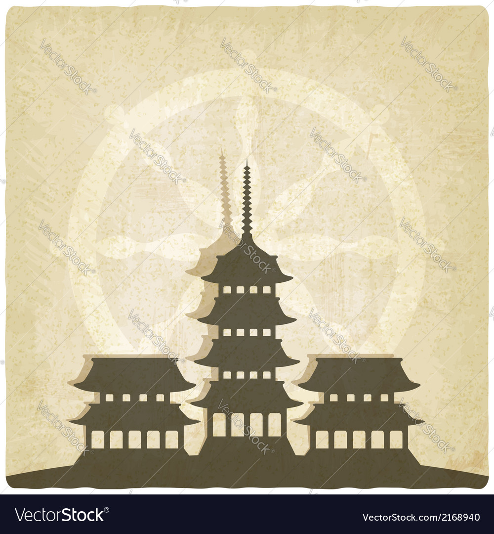 Buddhist temple old background vector | Price: 1 Credit (USD $1)