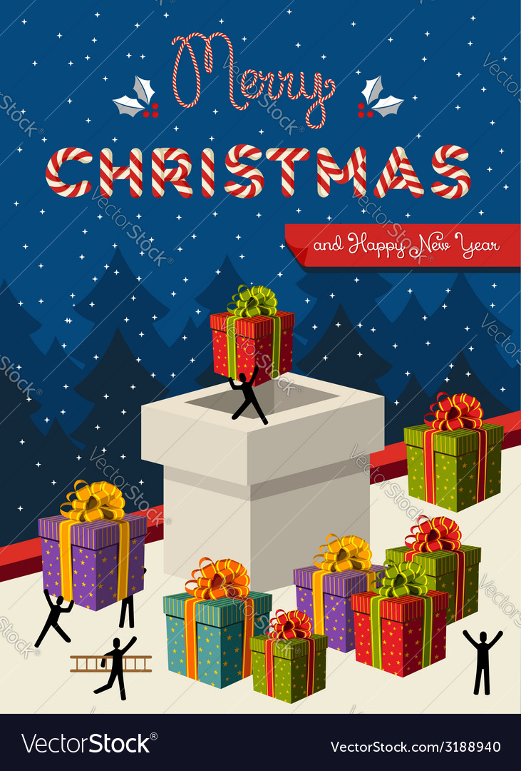 Christmas teamwork concept card design vector | Price: 1 Credit (USD $1)