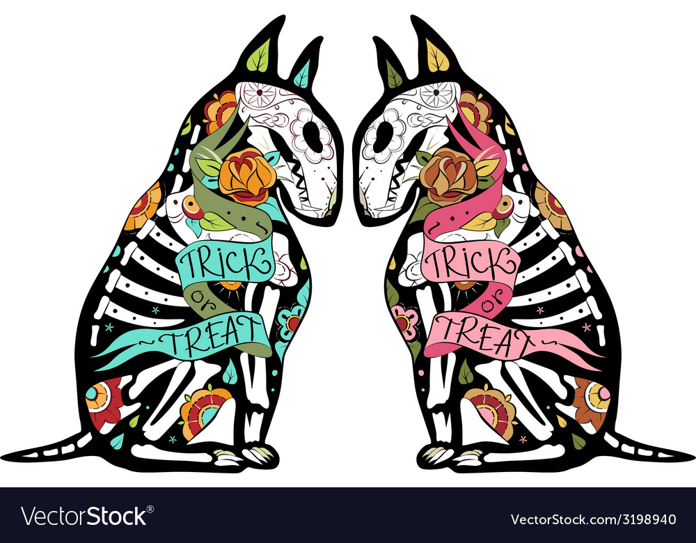 Colorfull bullterriers two colors vector | Price: 3 Credit (USD $3)