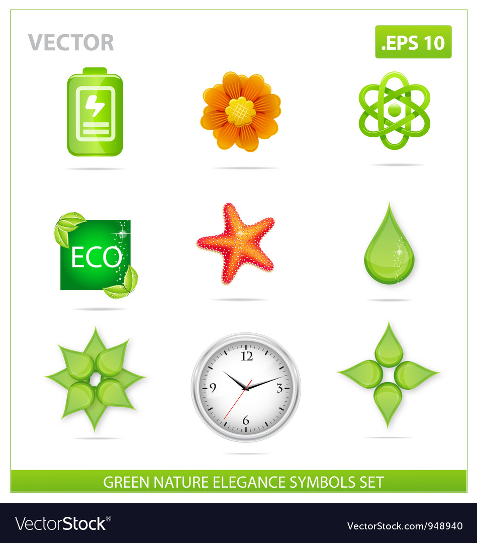 Green nature eco sign set vector | Price: 3 Credit (USD $3)