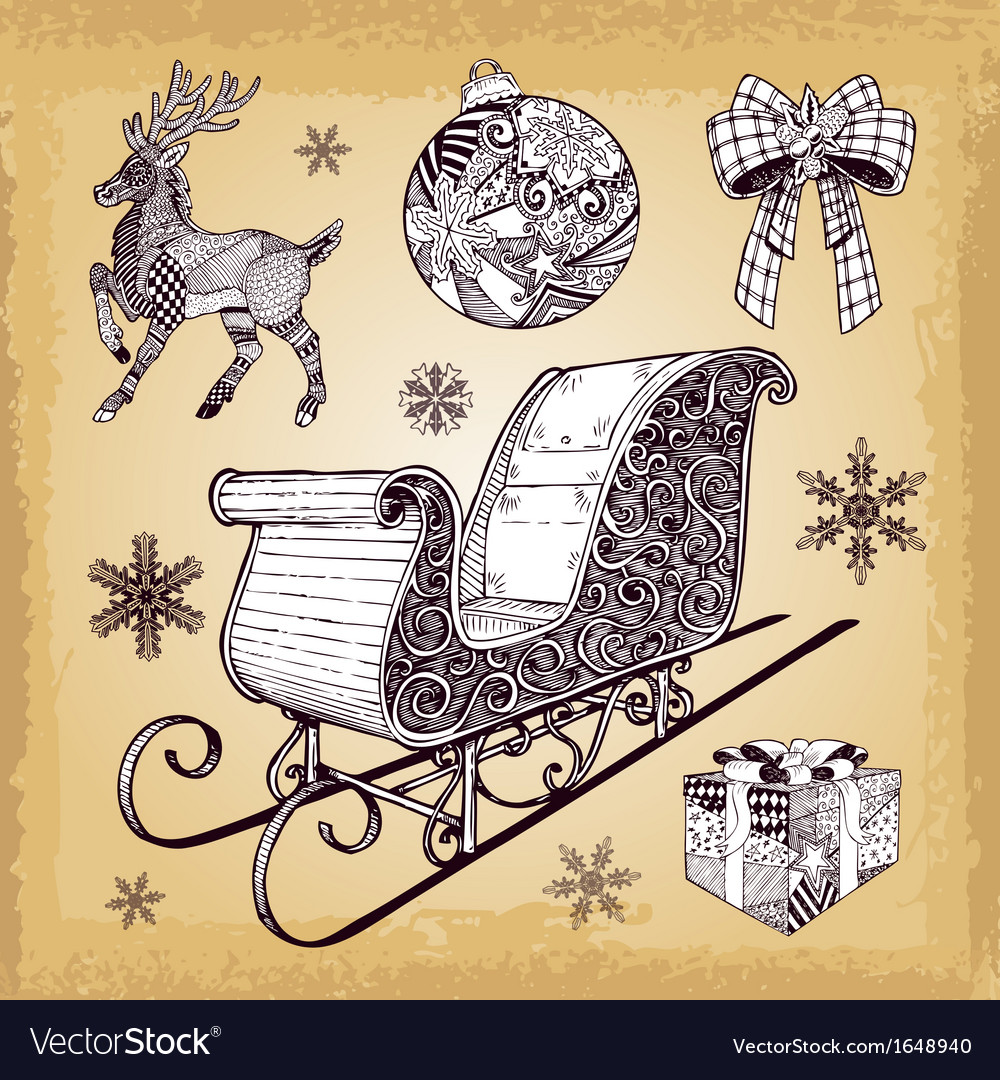Hand drawn christmas sleight decoration doodles vector | Price: 1 Credit (USD $1)