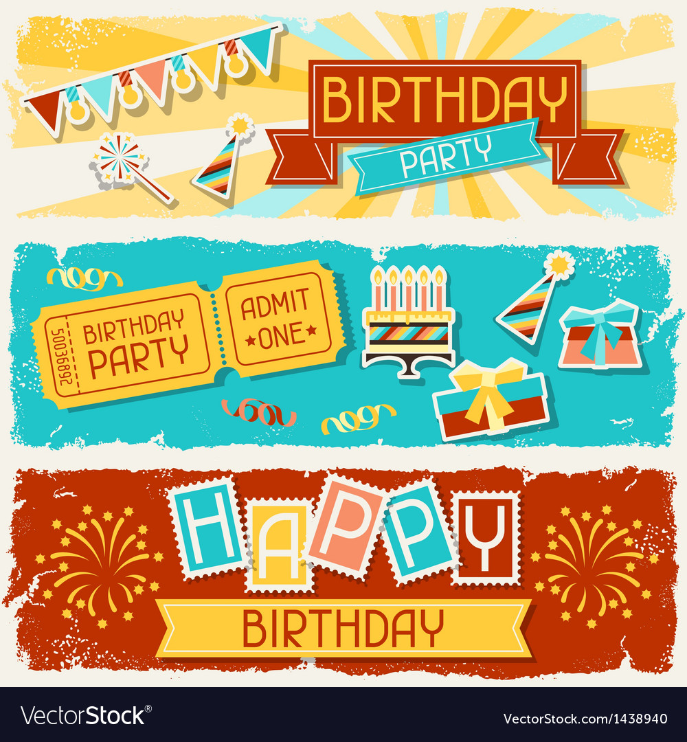 Happy birthday horizontal banners vector | Price: 3 Credit (USD $3)