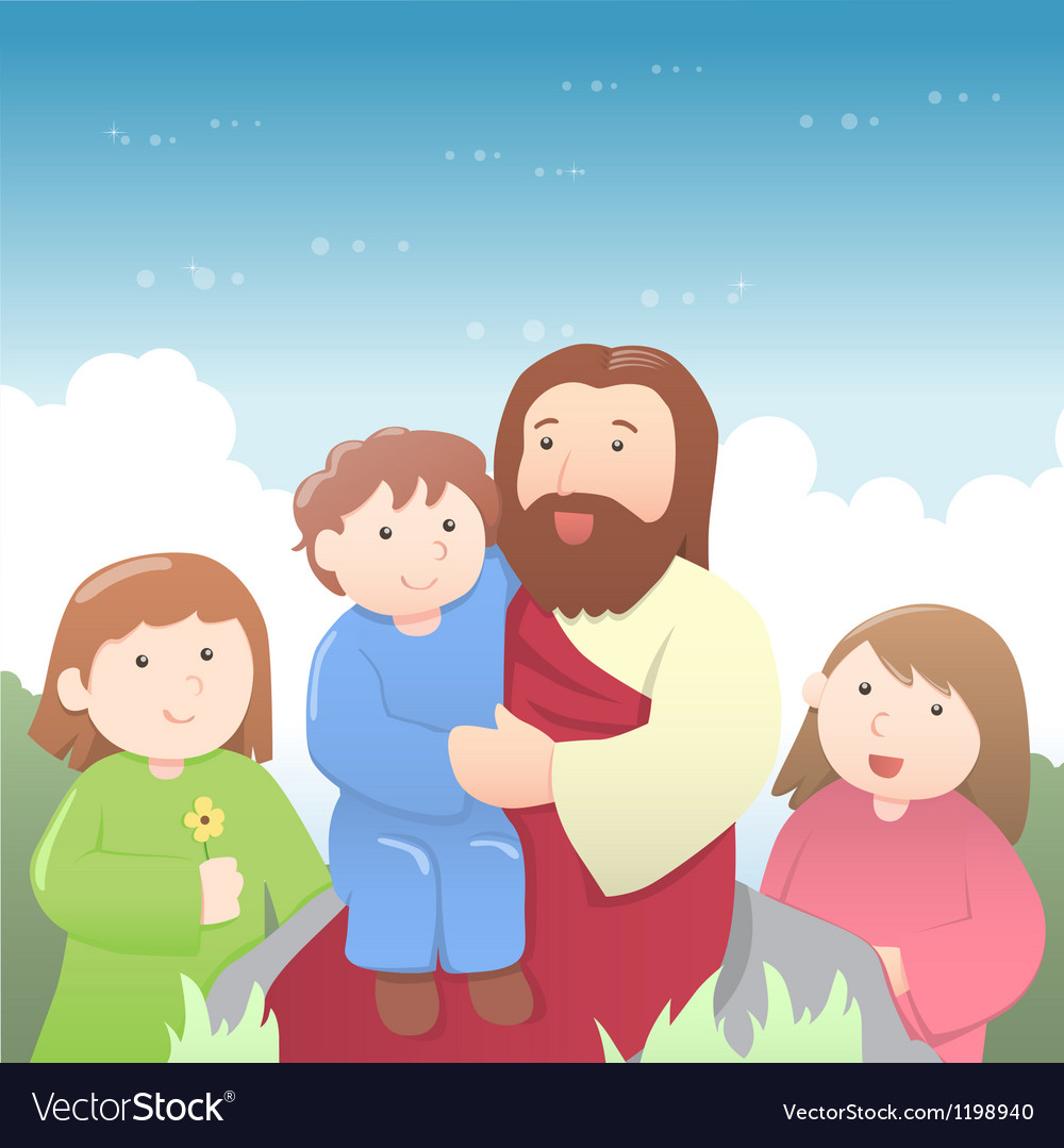 Jesus christ with kids cartoon vector | Price: 3 Credit (USD $3)