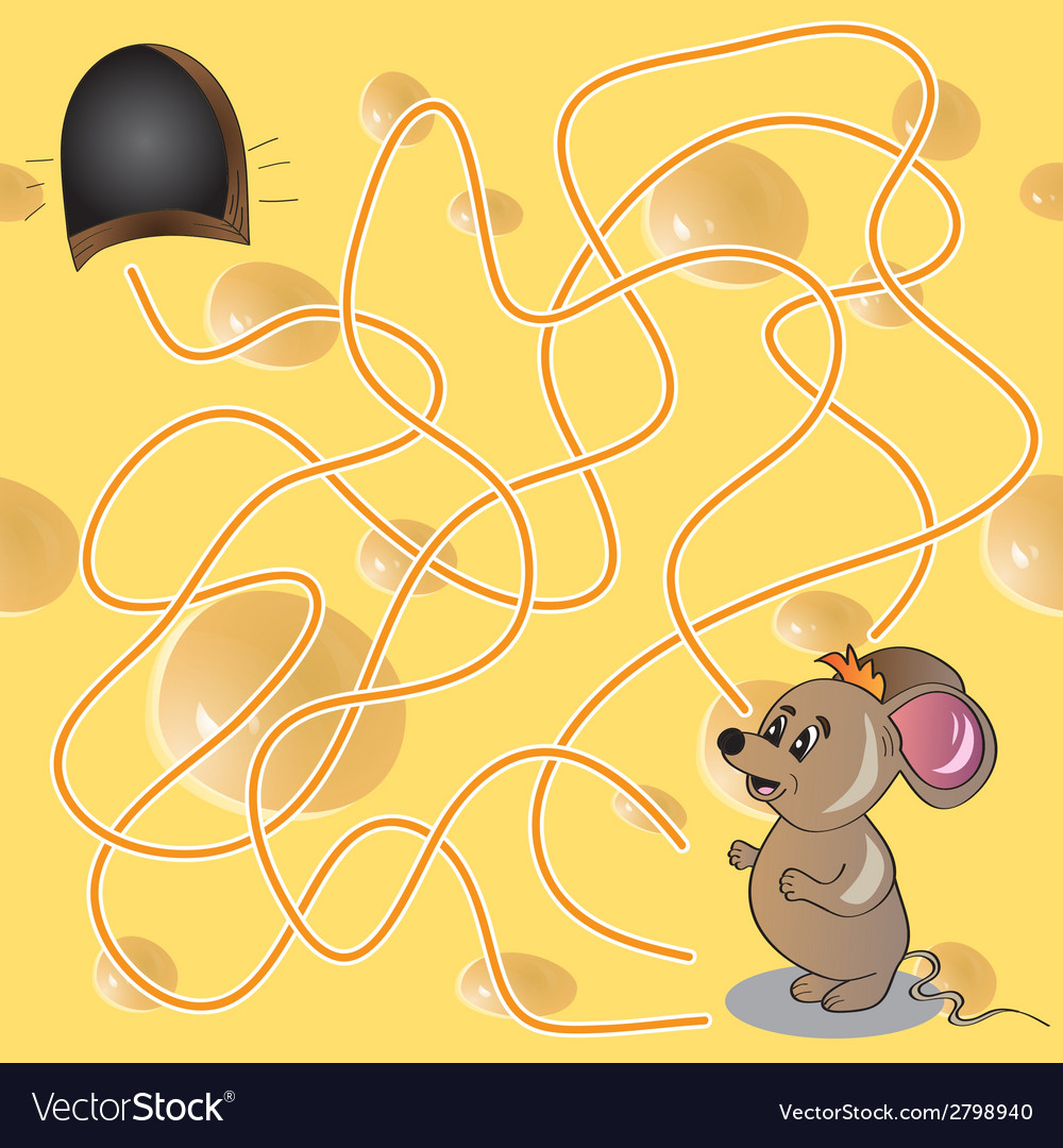 Maze or labyrinth game with funny mouse vector | Price: 1 Credit (USD $1)
