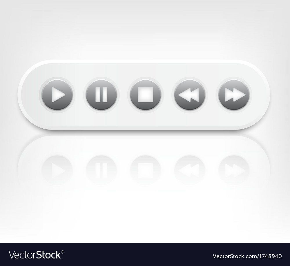 Media player interface with reflection vector | Price: 1 Credit (USD $1)