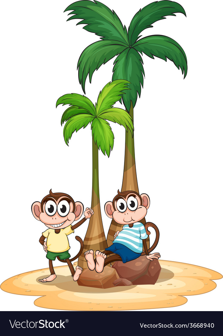 Monkey and tree vector | Price: 3 Credit (USD $3)