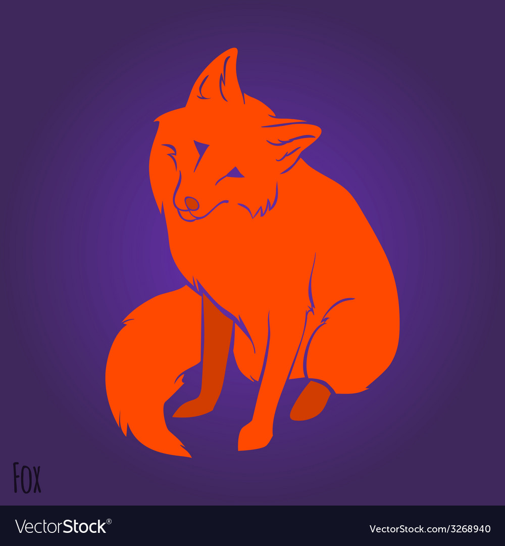 Red cute fox silhouette vector | Price: 1 Credit (USD $1)