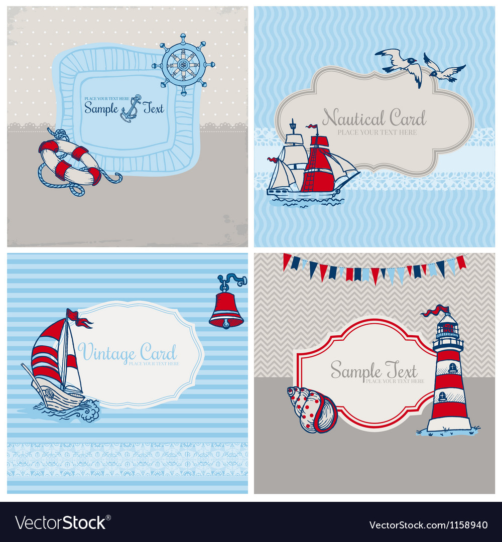 Set of nautical sea cards vector | Price: 1 Credit (USD $1)