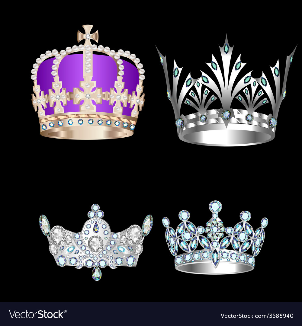 Set of vintage crowns vector | Price: 1 Credit (USD $1)