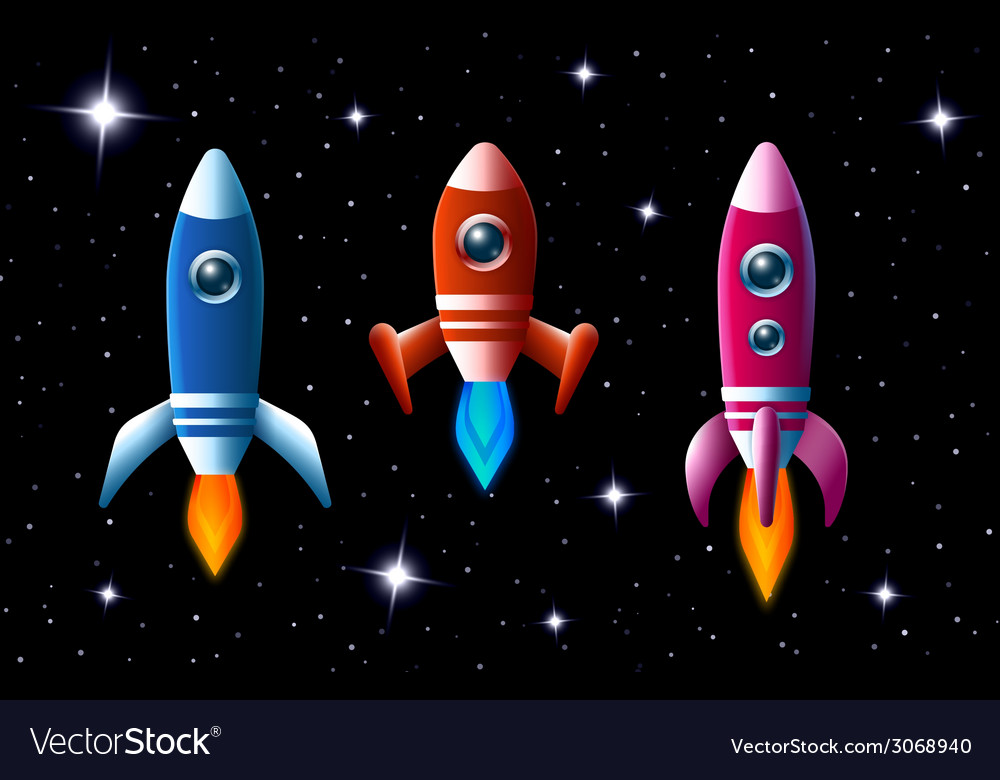 Three brightly colored rockets in outer space vector | Price: 1 Credit (USD $1)