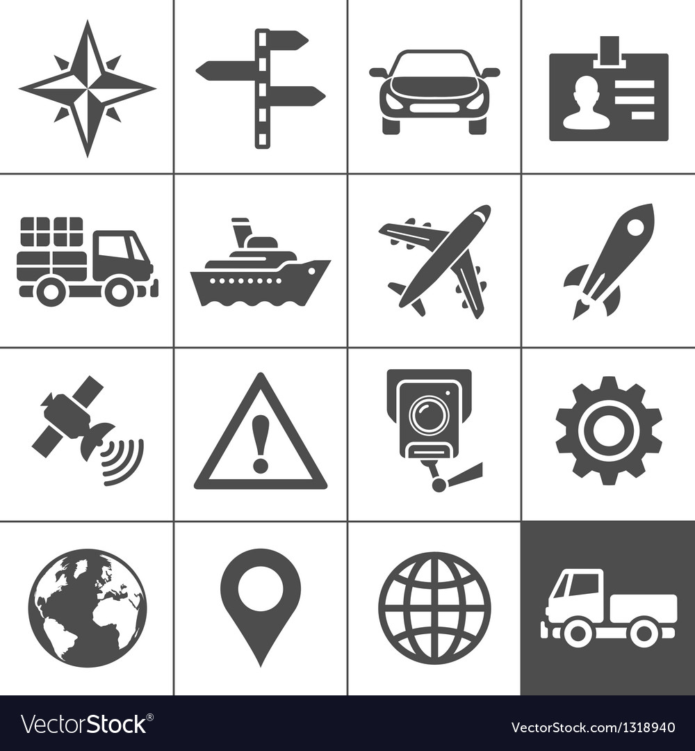 Transportation icons set simplus series vector | Price: 1 Credit (USD $1)