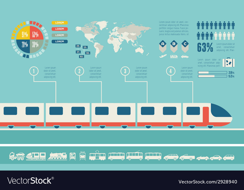 Transportation infographic template vector | Price: 1 Credit (USD $1)